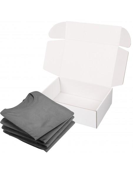 Caja de cartón blanca automontable para ropa
