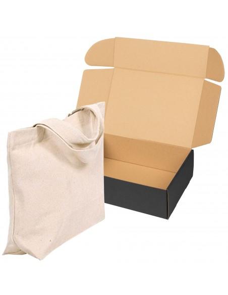 Caja de carton negra automontable para ropa